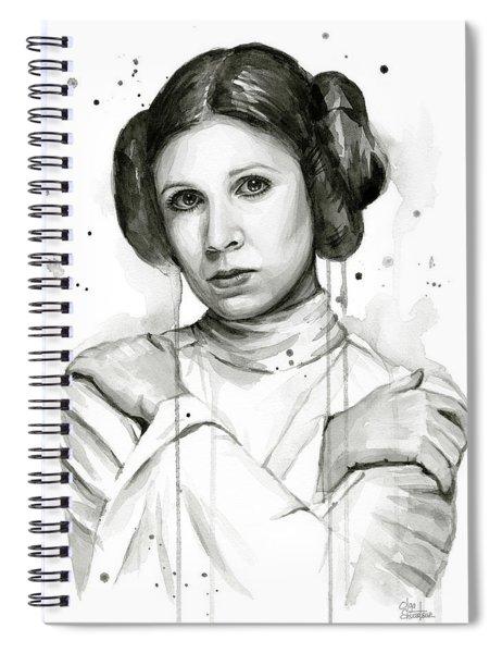 Princess Leia Portrait Carrie Fisher Art Spiral Notebook by Olga Shvartsur