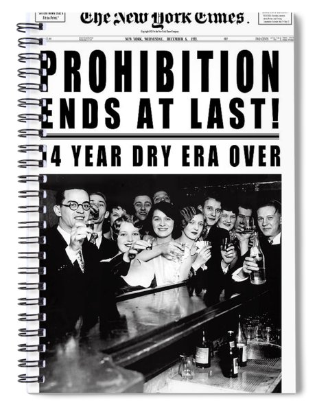 Prohibition Ends At Last Headline 1933 White Spiral Notebook