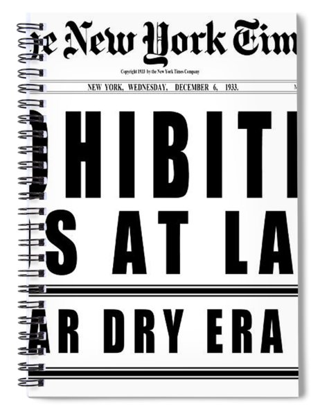Prohibition Ends Headline 1933  White Spiral Notebook