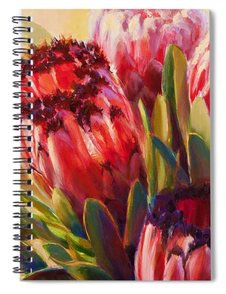 Pink Mink Protea - Tropical Flowers - Botanical Floral Painting - Hawaii Art - Protea Neriifolia Spiral Notebook