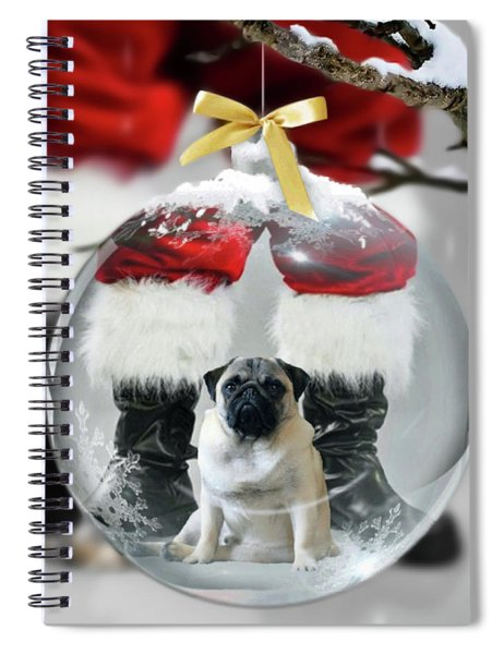 Pug And Santa Spiral Notebook