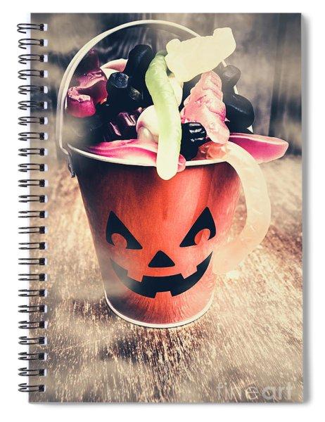 Pumpkin Head In A Misty Halloween Scene Spiral Notebook