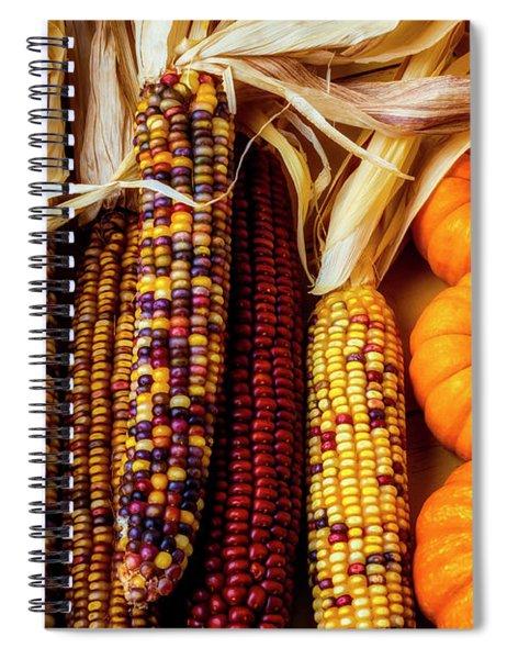 Pumpkins And Indian Corn Spiral Notebook