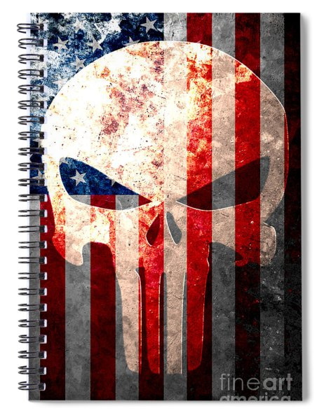 Punisher Themed Skull And American Flag On Distressed Metal Sheet Spiral Notebook