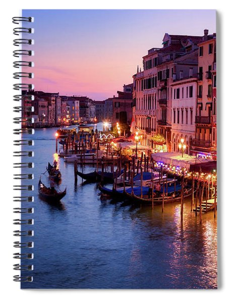 Cityscape From The Rialto In Venice, Italy Spiral Notebook