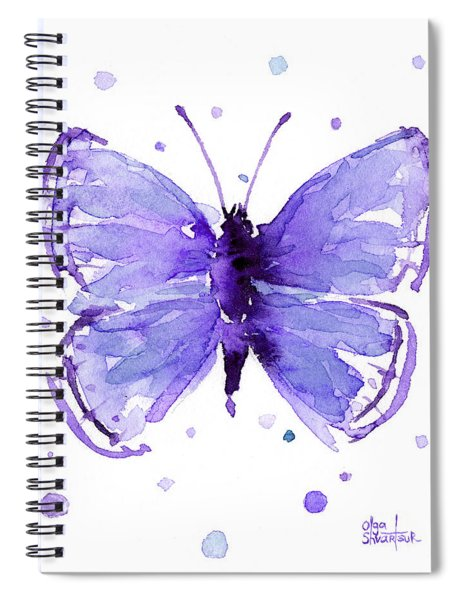 Purple Abstract Butterfly Spiral Notebook