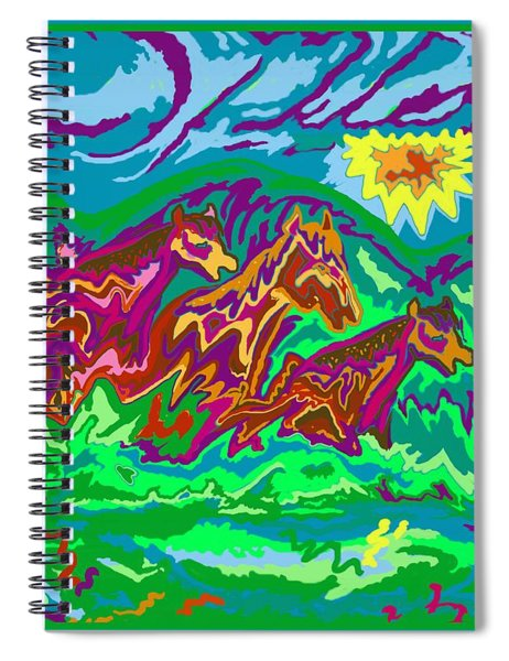 Purple Feathered Horses With Wider Surroundings Spiral Notebook