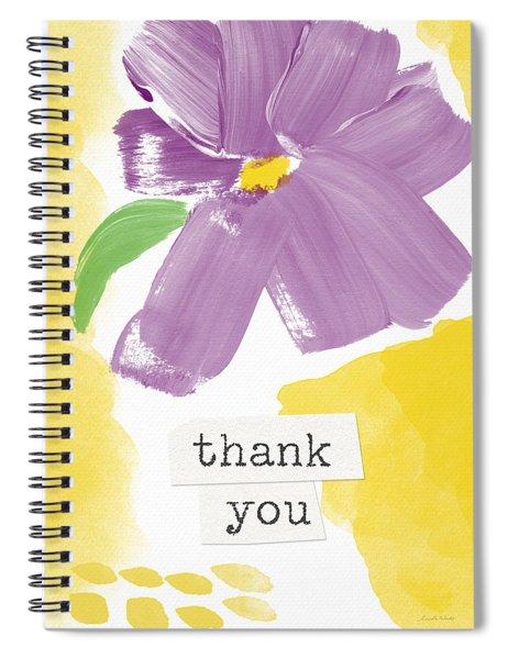 Purple Flower Thank You Card- Art By Linda Woods Spiral Notebook