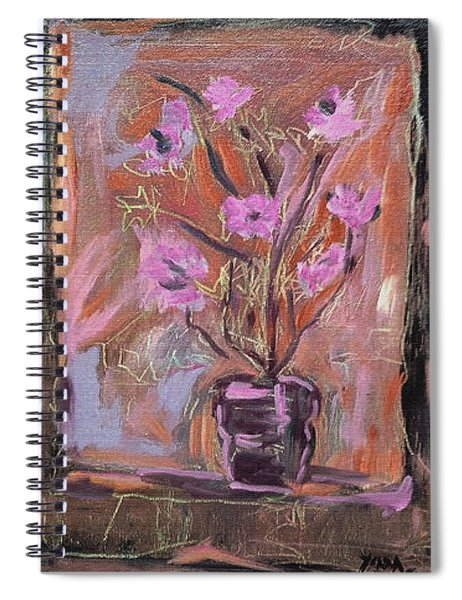 Purple Flowers In Vase Spiral Notebook