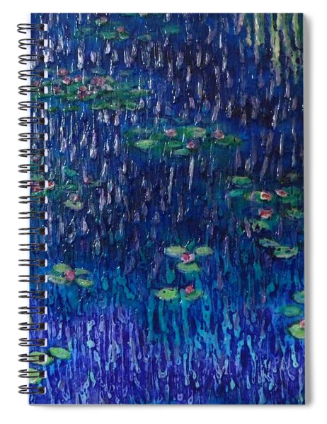 Purple Rain On Water Lilies Spiral Notebook