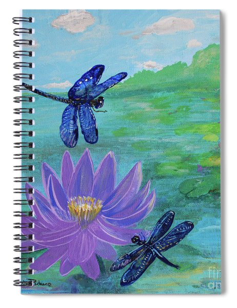 Purple Water Lily And Dragonflies Spiral Notebook