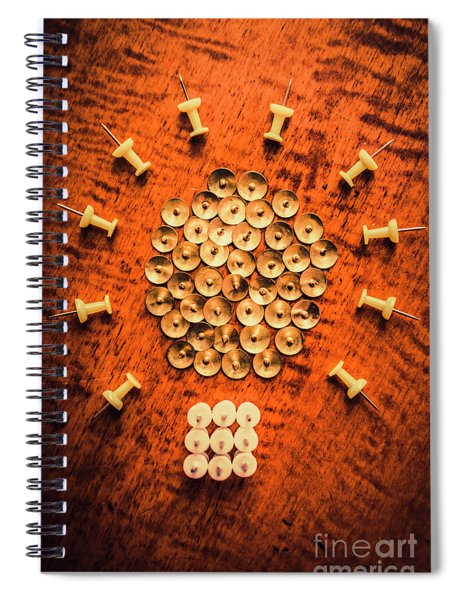 Pushpins Arranged In Light Bulb Icon Spiral Notebook