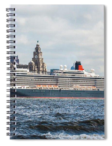 Queen Elizabeth Cruise Ship At Liverpool Spiral Notebook