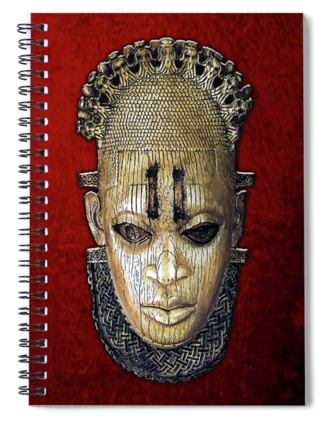 Queen Mother Idia - Ivory Hip Pendant Mask - Nigeria - Edo Peoples - Court Of Benin On Red Velvet Spiral Notebook
