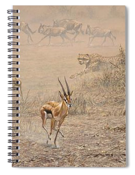 Spiral Notebook featuring the painting Quick Run by Alan M Hunt