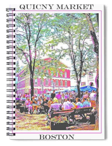 Quincy Market, Boston Massachusetts, Poster Image Spiral Notebook