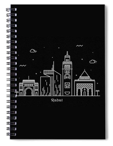Rabat Skyline Travel Poster Spiral Notebook