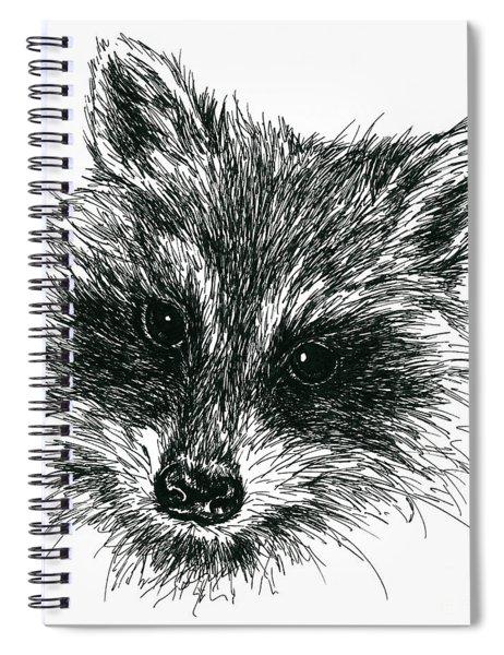 Raccoon Portrait In Ink Spiral Notebook