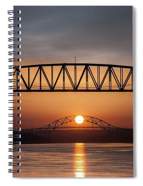 Railroad Bridge Framing The Bourne Bridge During A Sunrise Spiral Notebook