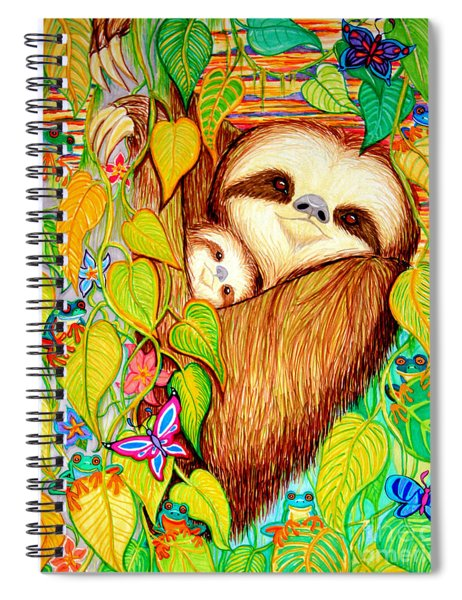 Rain Forest Survival Mother And Baby Three Toed Sloth Spiral Notebook