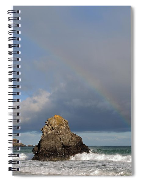 Rainbow Above Sango Bay Sea Stack Spiral Notebook