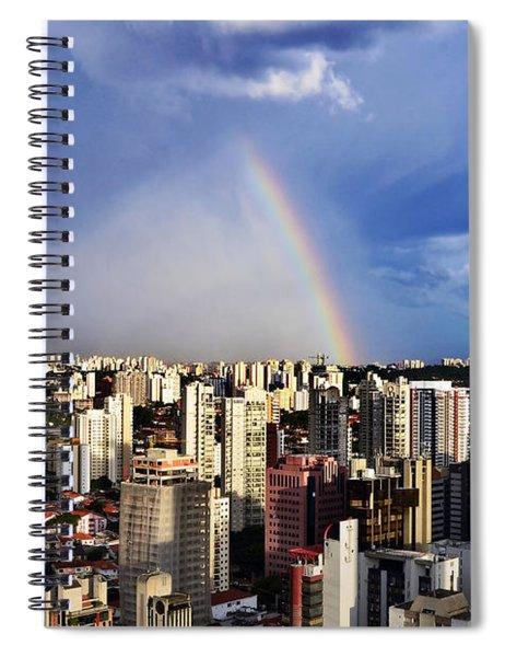 Rainbow Over City Skyline - Sao Paulo Spiral Notebook