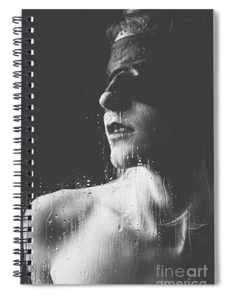 Raindrops - Blindfolded Beautiful Woman Behind A Window Spiral Notebook