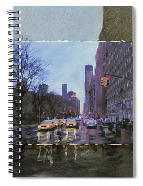 Rainy City Street Layered Spiral Notebook