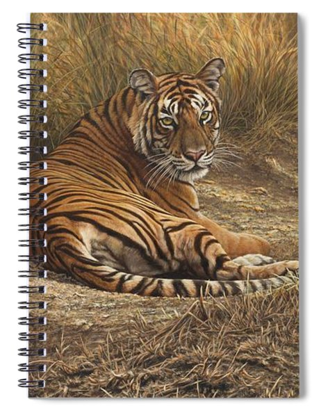 Spiral Notebook featuring the painting Ranthambore Roadblock by Alan M Hunt