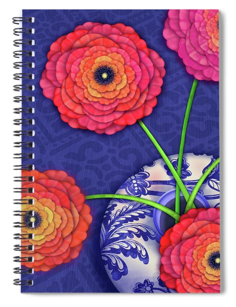 Ranunculus In Blue And White Vase Spiral Notebook
