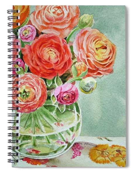 Ranunculus In The Glass Vase Spiral Notebook