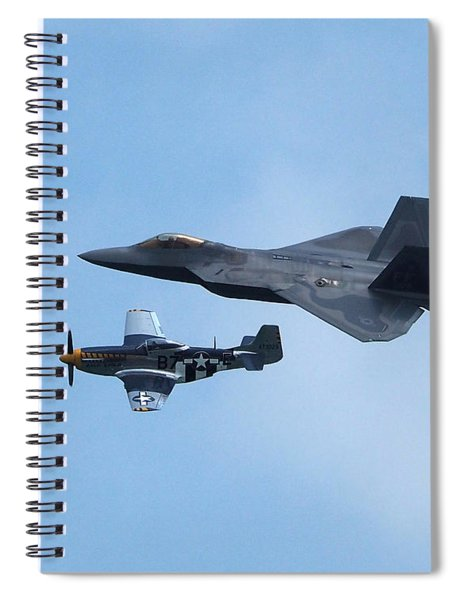 Raptor And Mustang In Formation Over Ocean City Spiral Notebook