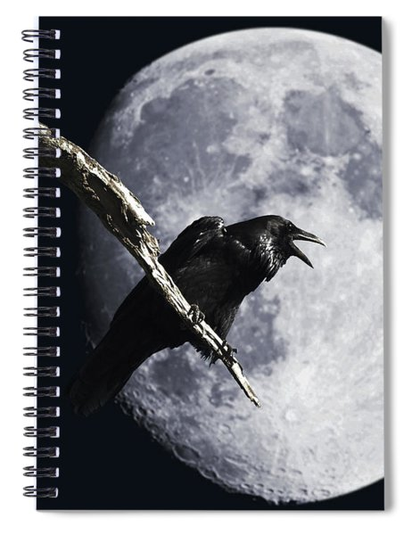Raven Barking At The Moon Spiral Notebook