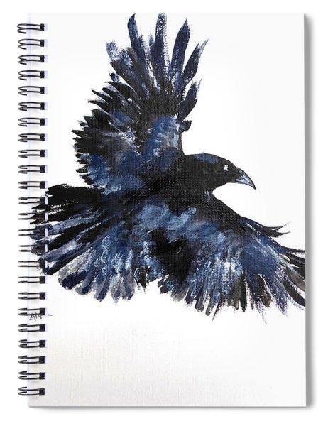 Raven In Flight Spiral Notebook