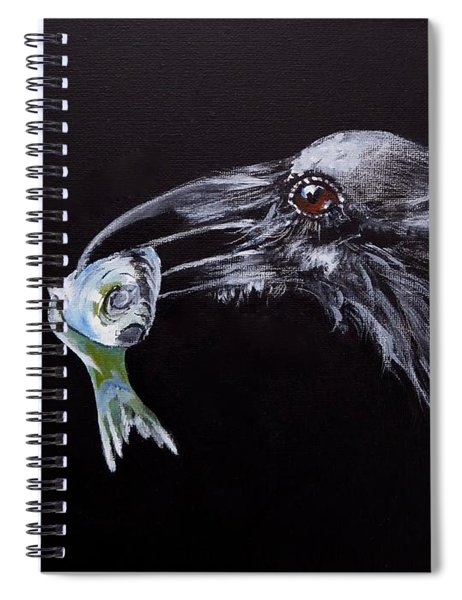 Raven With Fish Spiral Notebook