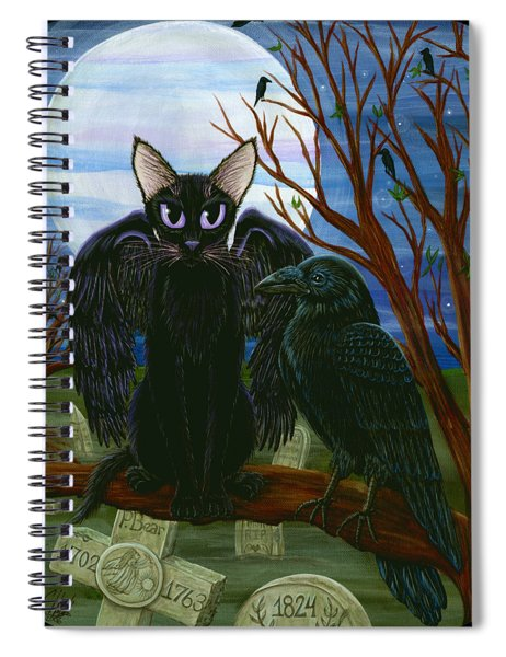 Raven's Moon Black Cat Crow Spiral Notebook