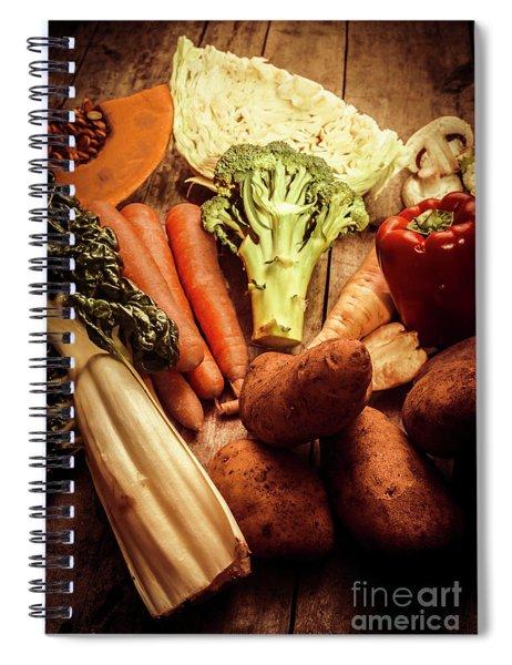 Raw Vegetables On Wooden Background Spiral Notebook