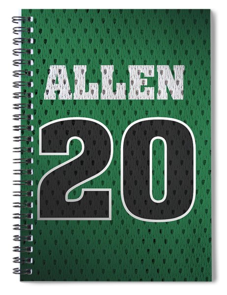 Ray Allen Boston Celtics Retro Vintage Jersey Closeup Graphic Design Spiral Notebook