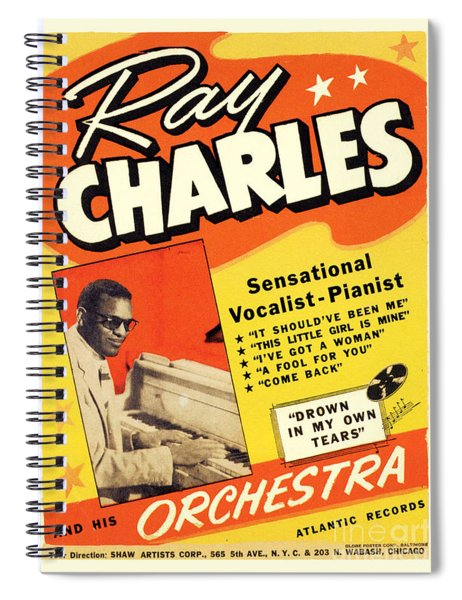 Ray Charles Rock N Roll Concert Poster 1950s Spiral Notebook