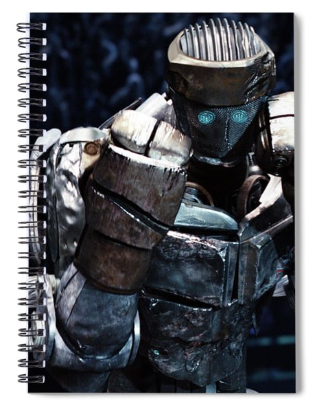 Spiral Notebook featuring the mixed media Real Steel Atom by Movie Poster Prints
