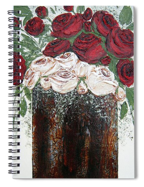 Red And Antique White Roses - Original Artwork Spiral Notebook