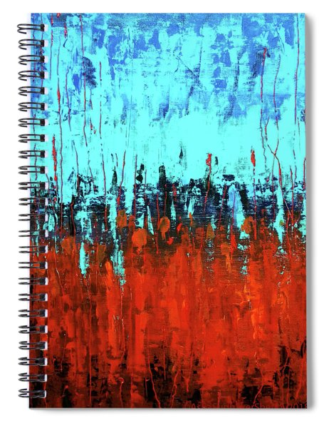 Red And Turquoise Abstract Spiral Notebook