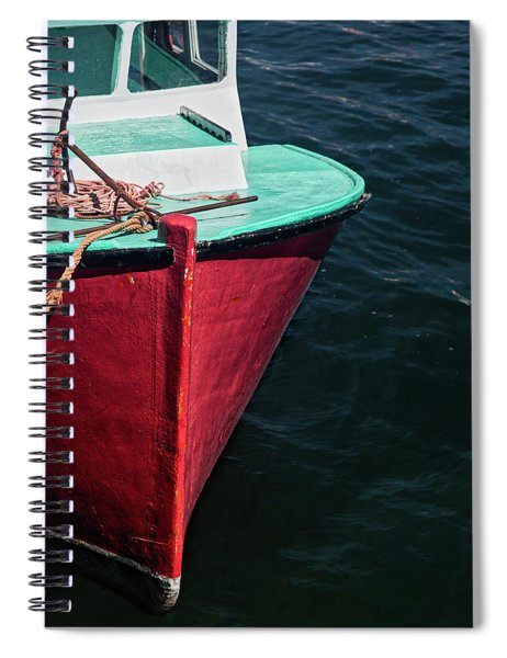 Red And Turquoise Fishing Boat Spiral Notebook