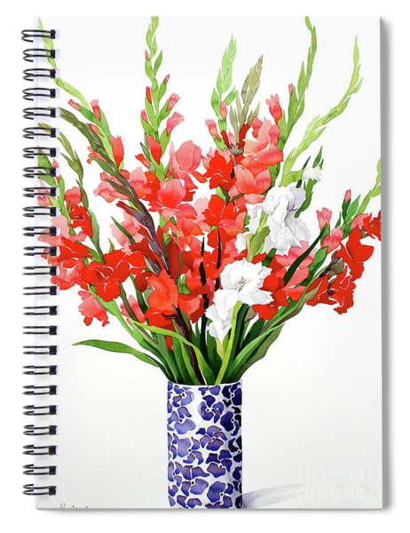 Red And White Gladioli Spiral Notebook