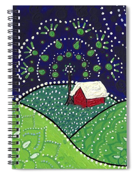 Red Barn At Night Spiral Notebook
