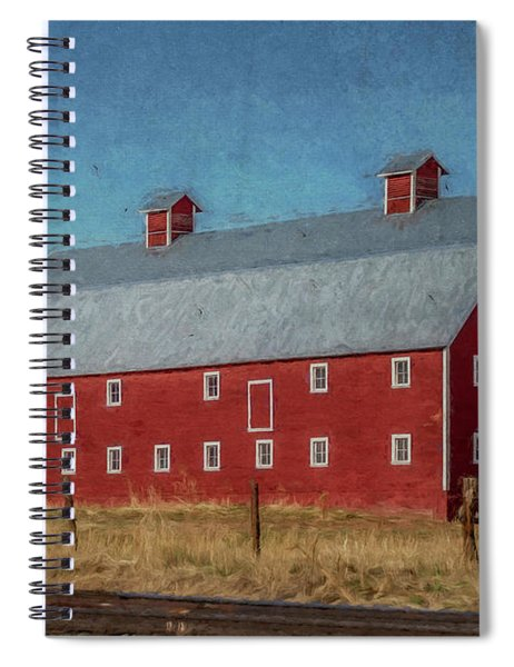 Red Barn By The Railroad Tracks Spiral Notebook