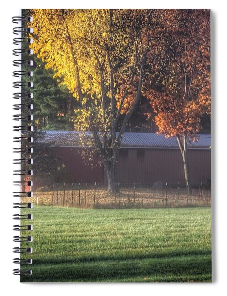 0041 - Red Barn On A Foggy Fall Morning Spiral Notebook