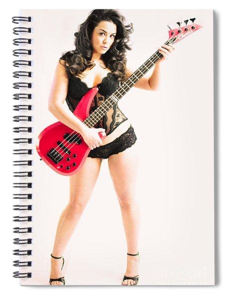 Red Bass Guitar Spiral Notebook