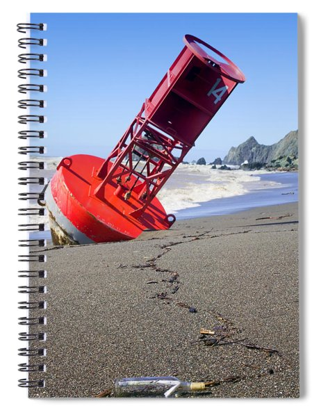 Red Bell Buoy On Beach With Bottle Spiral Notebook