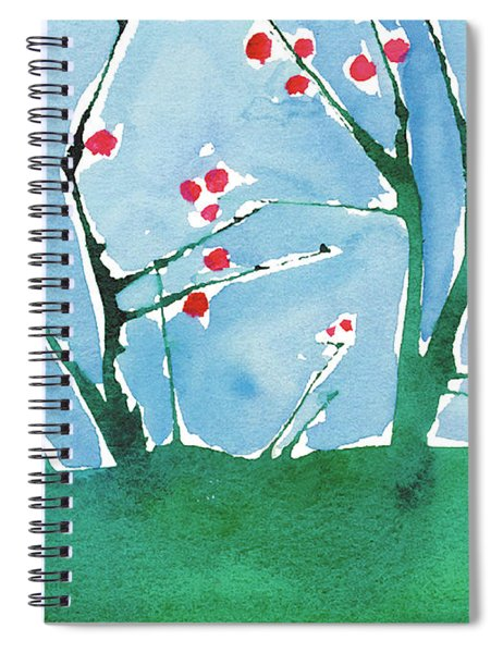 Red Berry Flowers Spiral Notebook